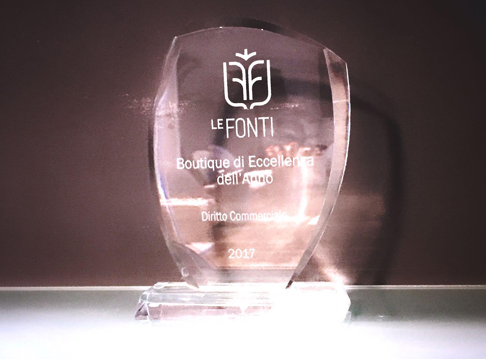 Le Fonti Awars - Boutique di eccellenza dell'anno - Diritto Commerciale per Donativi & Associati - 2017