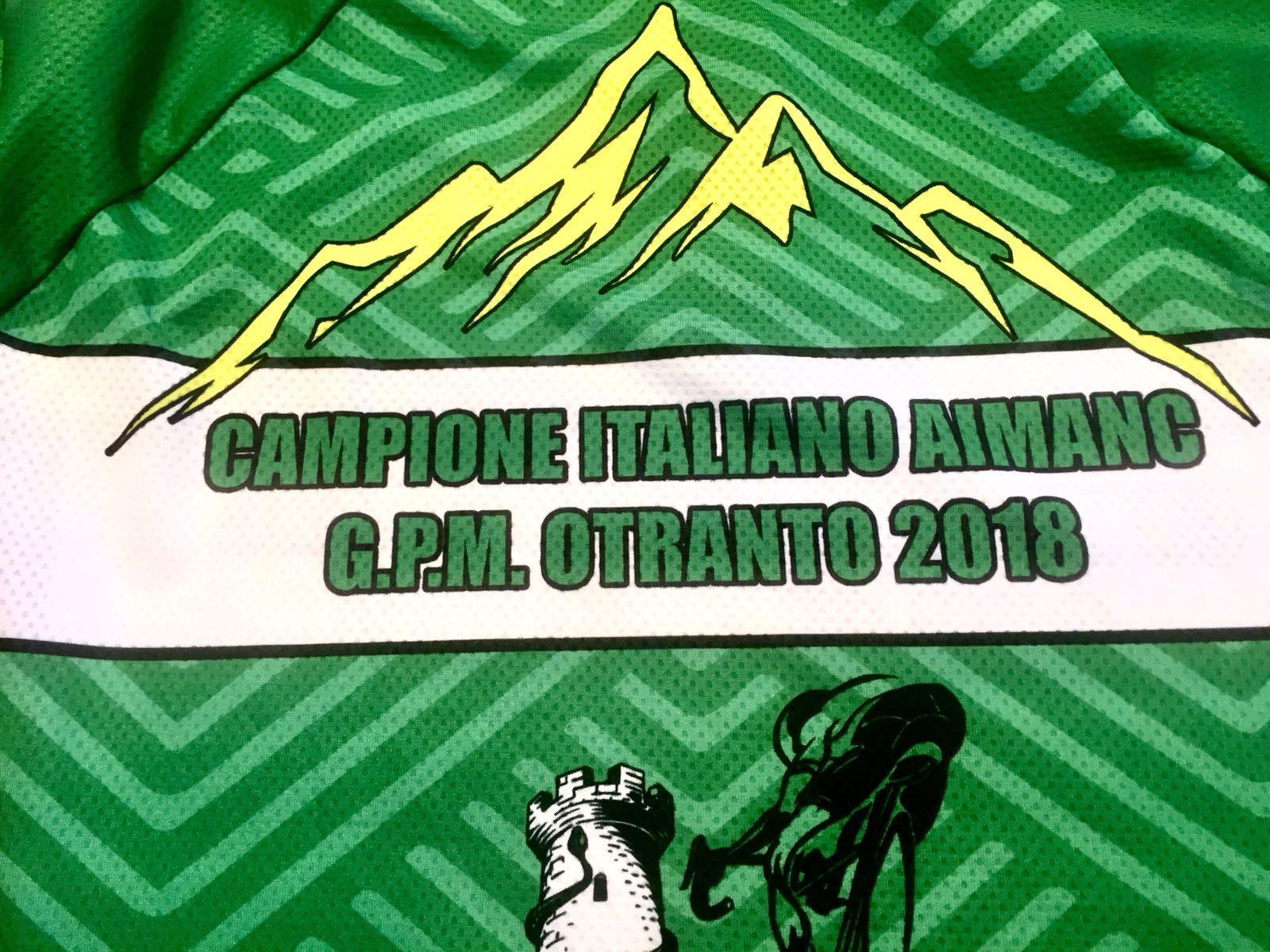 Maglia celebrativa per la vittoria in due categorie diverse, campione italiano Aimanc e G.p.m. - Vincenzo Donativi Campione italiano Aimanc 2018